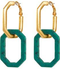 elongated octagon link earrings