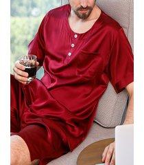 hombre ocio hogar seda manga corta redondo cuello pijama