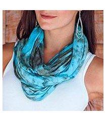 rayon blend infinity scarf, 'kintamani sky' (indonesia)