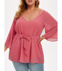 plus size solid cami top and chiffon belted blouse set