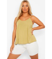 plus gerecycled basic hemdje, khaki