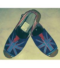 zapatillas boweipeiqi con bandera azul fondo azul