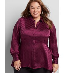 lane bryant women's textured high-low peplum tunic 20 pickled beet