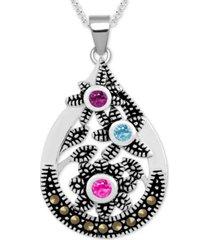 "genuine swarovski marcasite & multicolor crystal openwork 18"" pendant necklace in fine silver-plate"