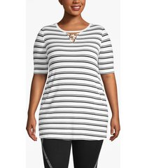 lane bryant women's livi strappy-neck tunic with pockets 18/20 black/white stripe