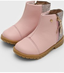 bota couro ortopã© infantil glitter rosa - rosa - menina - dafiti