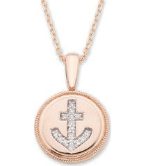 diamond (1/20 ct. t.w.) anchor pendant in 14k yellow or rose gold