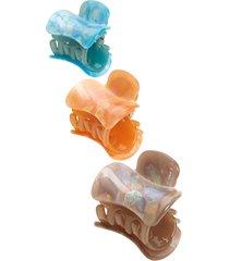 tasha 3-pack jaw hair clips in aqua/orange/gray at nordstrom