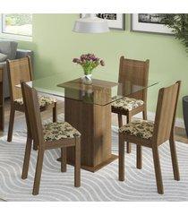 conjunto sala de jantar madesa magda mesa tampo de vidro com 4 cadeiras marrom - marrom - dafiti