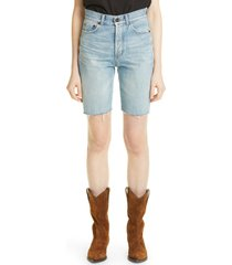 women's saint laurent cutoff denim shorts, size 31 - blue
