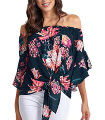 blusa de manga corta con diseño tropical y hombros descubiertos azul marino