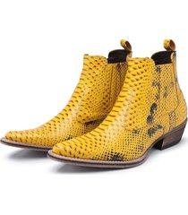 botina couro tamanho especial santarem 2175 amarelo - kanui