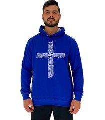 blusa moletom masculino alto conceito crucifixo motivacional azul royal