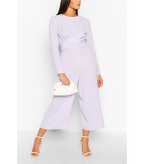 tall wrap waist culotte jumpsuit, lilac