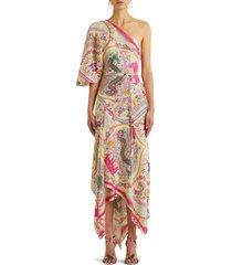 women's etro patmos print one-shoulder asymmetrical dress, size 6 us - pink