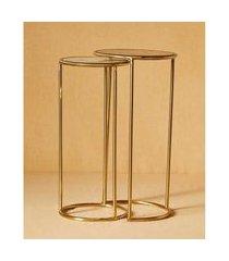 mesa redonda ágata aço cor: dourado - tamanho: único
