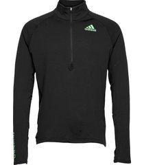 adizero warm 1/2 zip long sleeve tee t-shirts long-sleeved svart adidas performance