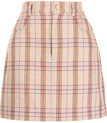 manning cartell plaid-check a-line skirt - brown