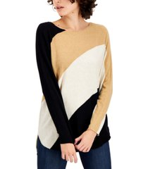 i.n.c. international concepts petite colorblocked top, created for macy's
