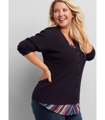 lane bryant women's ribbed button-front cardigan 10/12 night sky