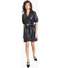 bar iii collared faux-leather wrap dress, created for macy's
