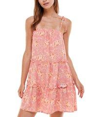as u wish juniors' tiered floral-print shift dress