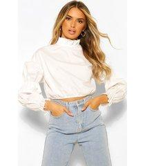 cotton poplin high neck puff sleeve blouse, white