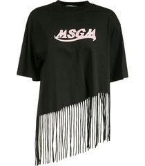 msgm asymmetric fringe hem logo t-shirt