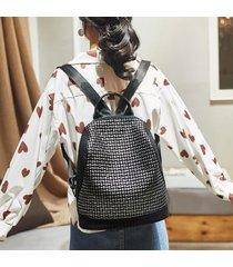 mochila de mujer, mochila de viaje retro simple y versátil.-negro