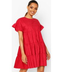 broderie anglaise smock dress, red