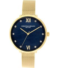 christian siriano women's analog gold-tone mop stainless steel mesh watch 38mm