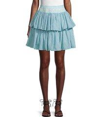 mochi women's diamond-print ruffled skirt - teal - size s