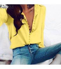 zanzea mujer de manga larga abajo de los botones de corte bajo casual tapas de la camisa más el tamaño de la blusa -amarillo