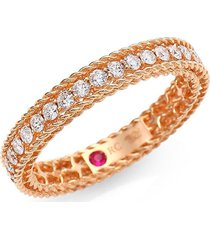 roberto coin women's symphony 18k rose gold & diamond braided eternity ring/size 6.5 - size 6.5