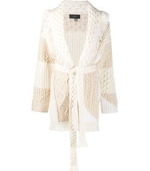 alanui knitted belted cardi-coat - neutrals