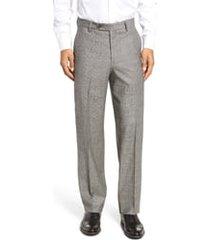 men's berle flat front classic fit stretch plaid wool dress pants