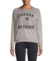 prince peter collection women's pardon my french sweatshirt - light blue - size s