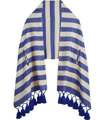 lulu blue & ecru shawl
