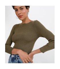 blusa manga 7/8 canelada com decote canoa em tricô | marfinno | verde | m