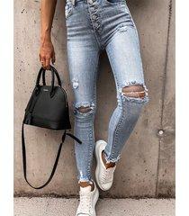 botón azul delantero de cintura alta jeans