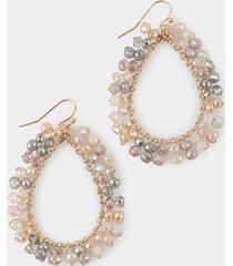 marin beaded outer teardrop earrings - pale pink