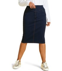 plus size women's marina rinaldi caorle denim jacquard skirt, size 20w - blue