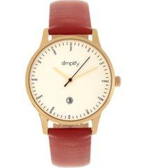 simplify quartz the 4300 gold case, genuine dark brown leather watch 42mm