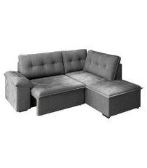 sofá de canto 5 lugares direito retrátil veneza suede cinza