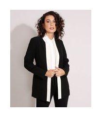 blazer longo bicolor com bolsos preto