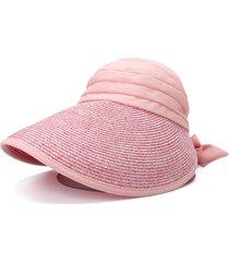 cappello a tesa larga da donna con protezione solare regolabile in poliestere per protezione solare