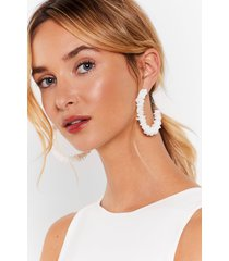 womens didn't get your text-ure hoop earrings - white