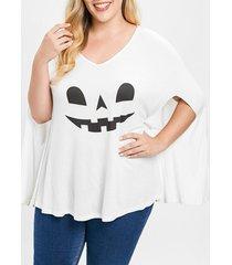 plus size halloween pumpkin lamp poncho t-shirt