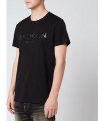 balmain men's resin logo t-shirt - black - l