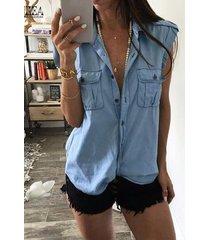 yoins azul denim classic blusa sin mangas con cuello
